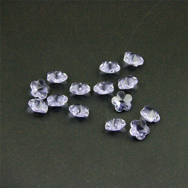 Promotion 100pc 14mm Lilac Glass Crystal Plum Flower Beads In 1 Holes For Garland Strand & Crystal Chandelier Accessories Parts