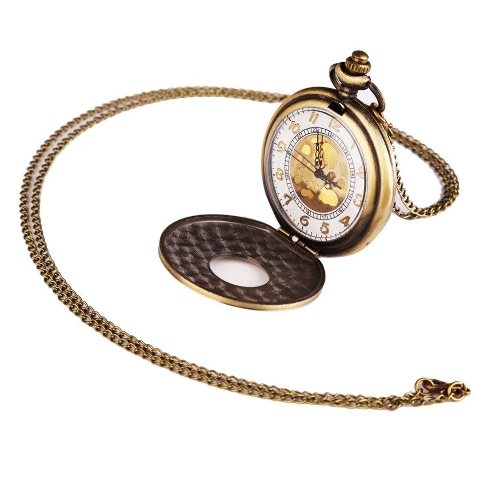 Vintage Unisex Fashion Round Shape Hollow Quartz Steampunk Pocket Watch Bronze Death Note Relogio De Bolso Women Fashion Gifts