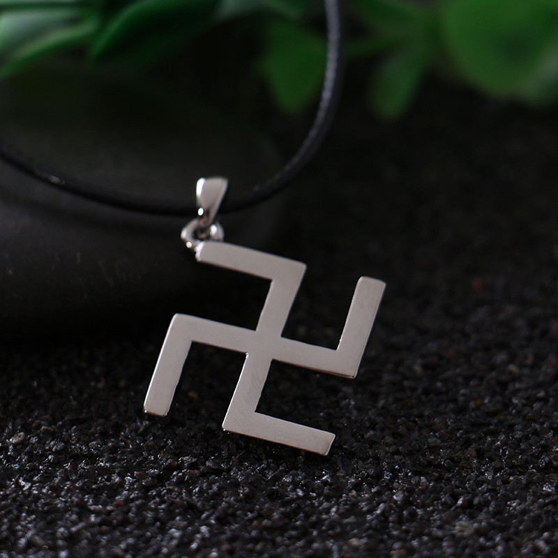 Silver Buddhism Peace Symbol Swastika Necklace With Leather Rope