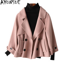 AYUNSUE 2019 Quality Double-Sided Cashmere Wool Coats Autumn Winter Coat Women Soft Short Female Jacket Clothes 38012 WYQ1449(China)