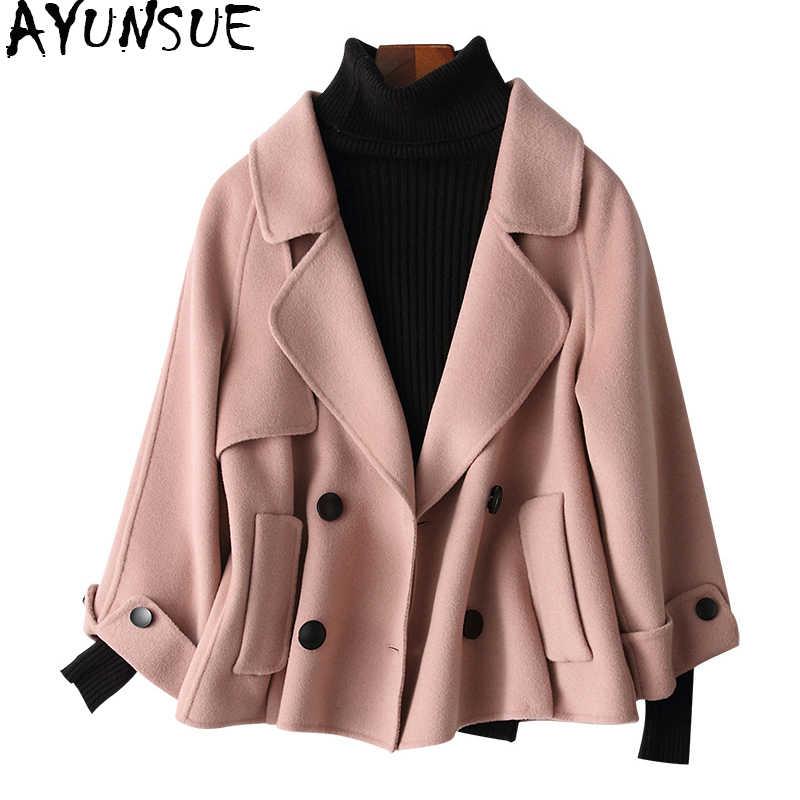 AYUNSUE 2019 Quality Double-Sided Cashmere Wool Coats Autumn Winter Coat Women Soft Short Female Jacket Clothes 38012 WYQ1449