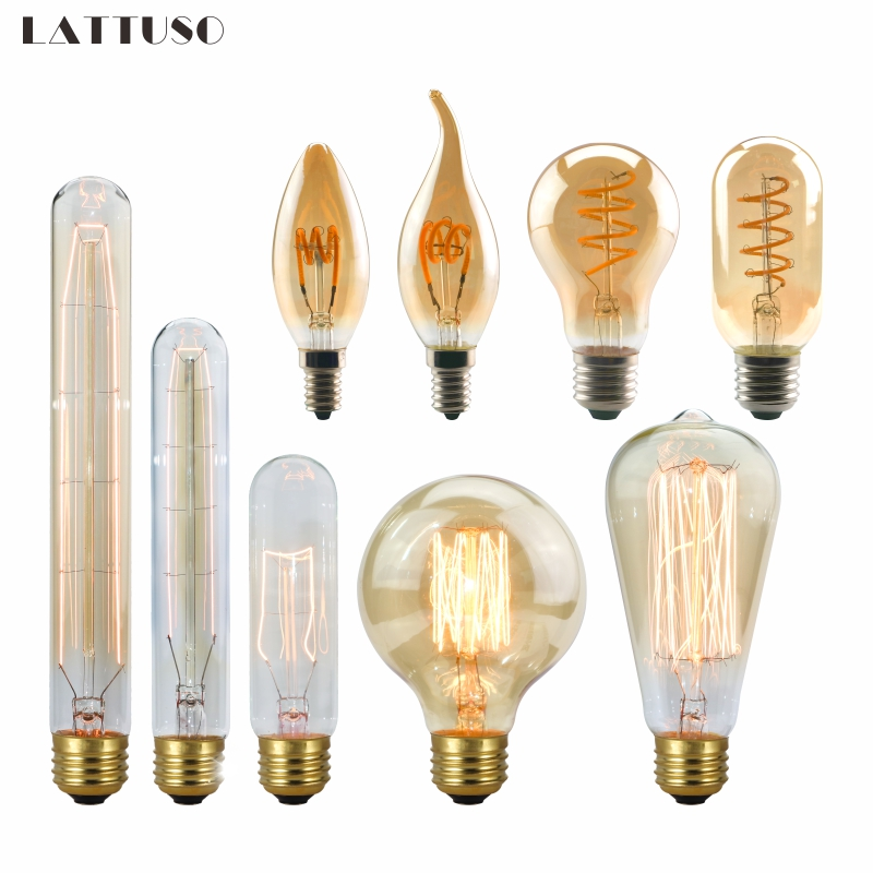 LATTUSO 220V Retro Vintage LED Spiral Filament Light Bulb 2200K 4W 40W Dimmable Edison Lamp C35 T45 A19 A60 ST64 G80 G95 G125LATTUSO 220V Retro Vintage LED Spiral Filament Light Bulb 2200K 4W 40W Dimmable Edison Lamp C35 T45 A19 A60 ST64 G80 G95 G125