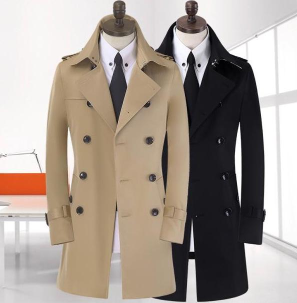Black khaki plus size S 9XL spring autumn mens trench coat men new business casual gentleman