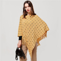 Winter 2019 cashmere scarf Pullover Cloak Shawl tassels Thickened Warm Knitted Nail Bead Sequins plaid cape Poncho Scarf Female