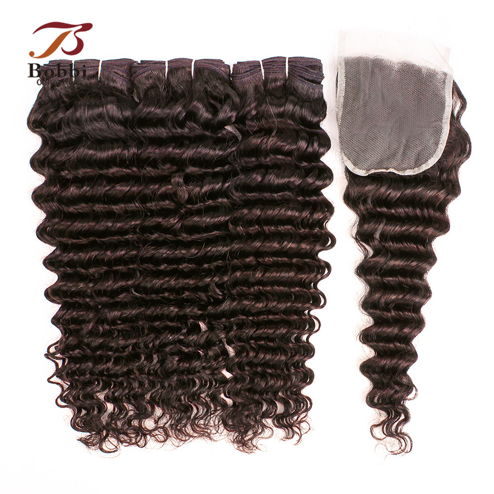 BOBBI COLLECTION Brazilian Deep Wave Hair Color 2 Dark Brown 3 4 Bundles with Lace Closure