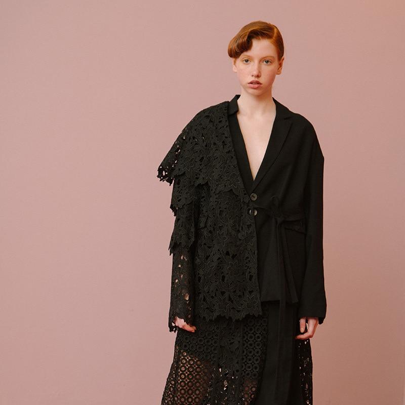 Mode Vintage Veste Couleur gray Taille Lc165 Printemps De Black Spliced Contraste Qualité Haute Nouvelles Réglable 2019 Manteau Femmes eam Dentelle qOawv