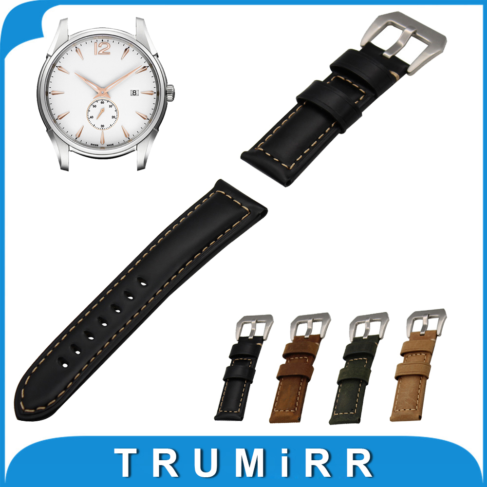 22mm 24mm Italian Calf Genuine Leather Watch Band for Hamilton Stainless Steel Buckle Strap Wrist Belt Bracelet Black Brown 22mm calf genuine leather watch band tool for ck calvin klein tang buckle watchband strap wrist belt bracelet black brown green