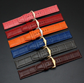 22mm New Grey Orange Red Vintage Brown Blue Purple Green Pink White Cowhide Leather Wrist Watchband Strap Belt Silver Pin Buckle