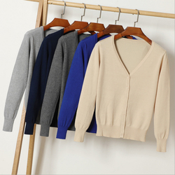 Queechalle 25 Color Autumn Knitted Cardigan Coat Women's V Neck Long Sleeve Casual Sweater Coats Female Clothes S- 4XL Plus Size 6
