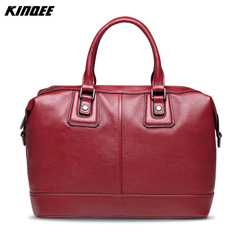 KINQEE Genuine Leather Women Totes Boston Bag Cow Leather Handbags Casual Lady High Quality Crossbody Bags