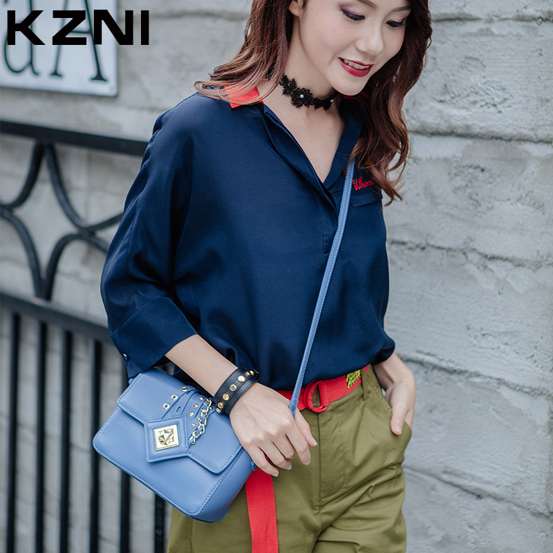 KZNI Woman Bags 2016 Bag Handbag Fashion Handbags Genuine Leather Crossbody Shoulder Clutch Bags Female Sac a Main Femme 1401 kzni genuine leather cowhide clutch cross shoulder bags high quality rivet crossbody bag sac a main femme bolsos mujer 9062 9063