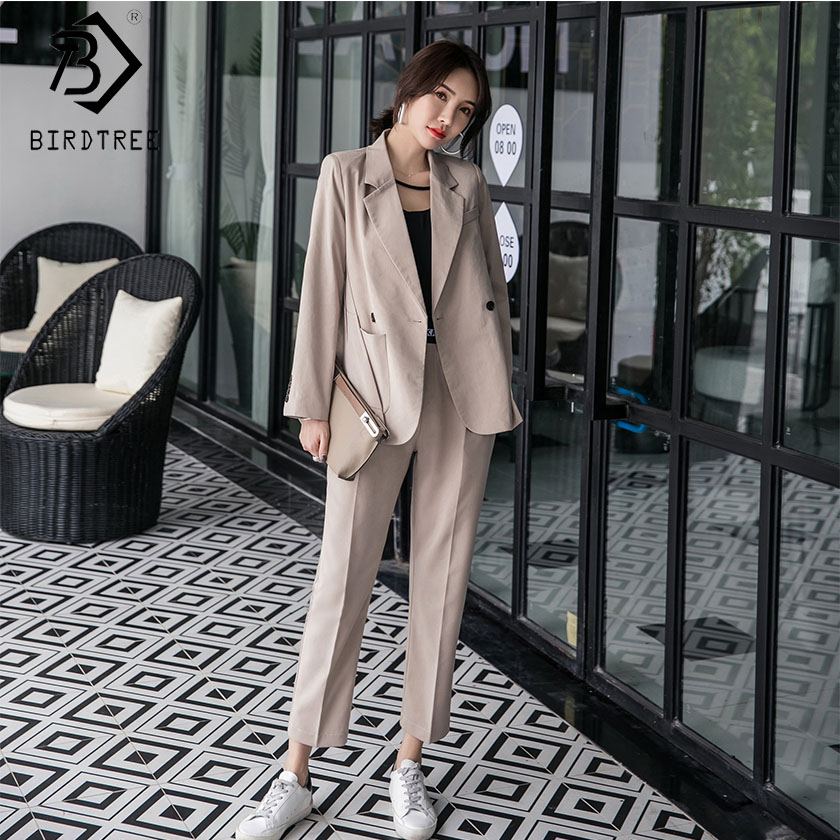 2019 Spring New Women's Long Sleeve Blazer Suits Double Breasted Tops Elastic Waist Pants Formal Notched Elegance S8D511J-in Pant Suits from Women's Clothing    1