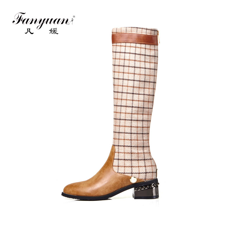Fanyuan2019 женская обувь больших размеров 32 43 женские сапоги для верховой езды Модные