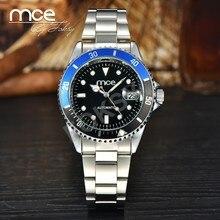 Mce топ бренд мужской часы полный стальной ленты разноцветные круг 034