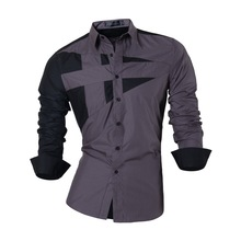 Jeansian Mens Dress Shirts Casual Stylish Long Sleeve Designer Button Down Slim Fit 8397 Gray