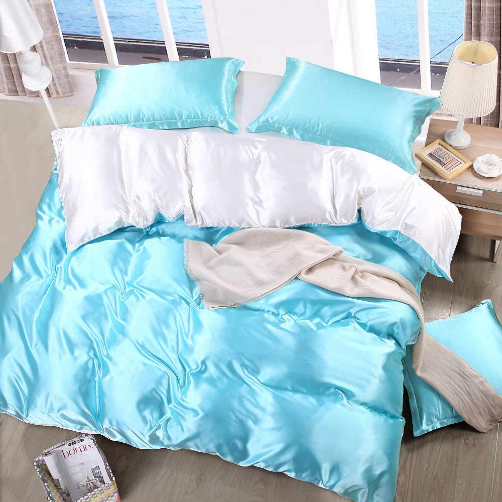 Bright blue bedding - Spring Bright Color Bed Bedding Sets Single Double Blue And White Comforter Quilt Duvet Cover Adult