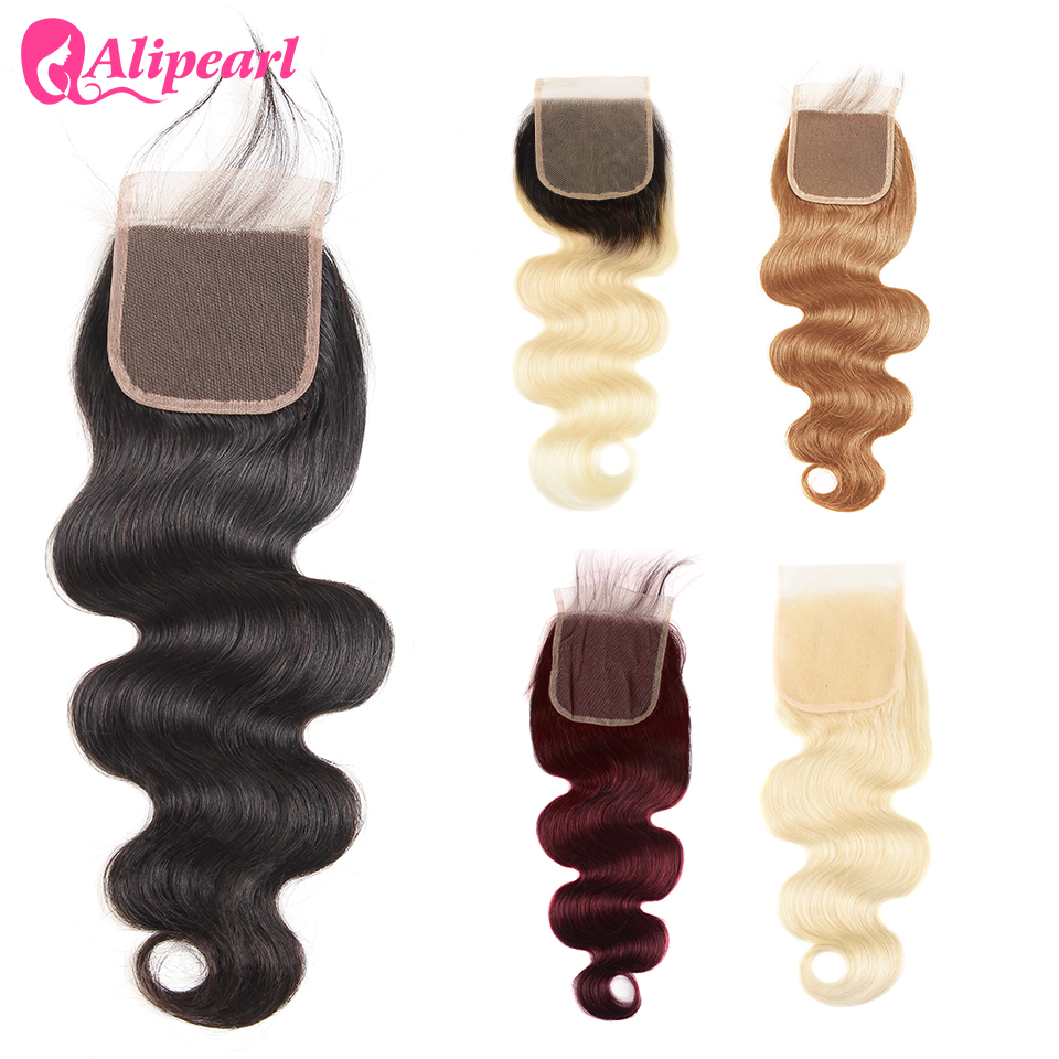 Ali Pearl Hair 613 Blonde Lace Closure 4x4 Free Part With Baby Hair 5 Colors Available 99J #27 Brazilian Lace Frontal 8-20inch