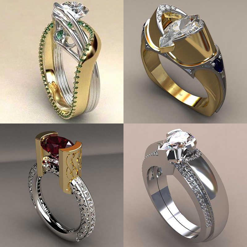 ที่ไม่ซ้ำกันหญิง VINTAGE ค็อกเทลแหวนคริสตัลสีเจ้าสาวแหวนสัญญาหมั้นแหวน