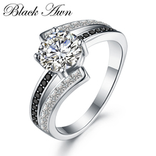 BLACK AWN 3.9g Classic 925 Sterling Silver Jewelry Row Black&White Stone Wedding Rings for Women Femme Bague C334