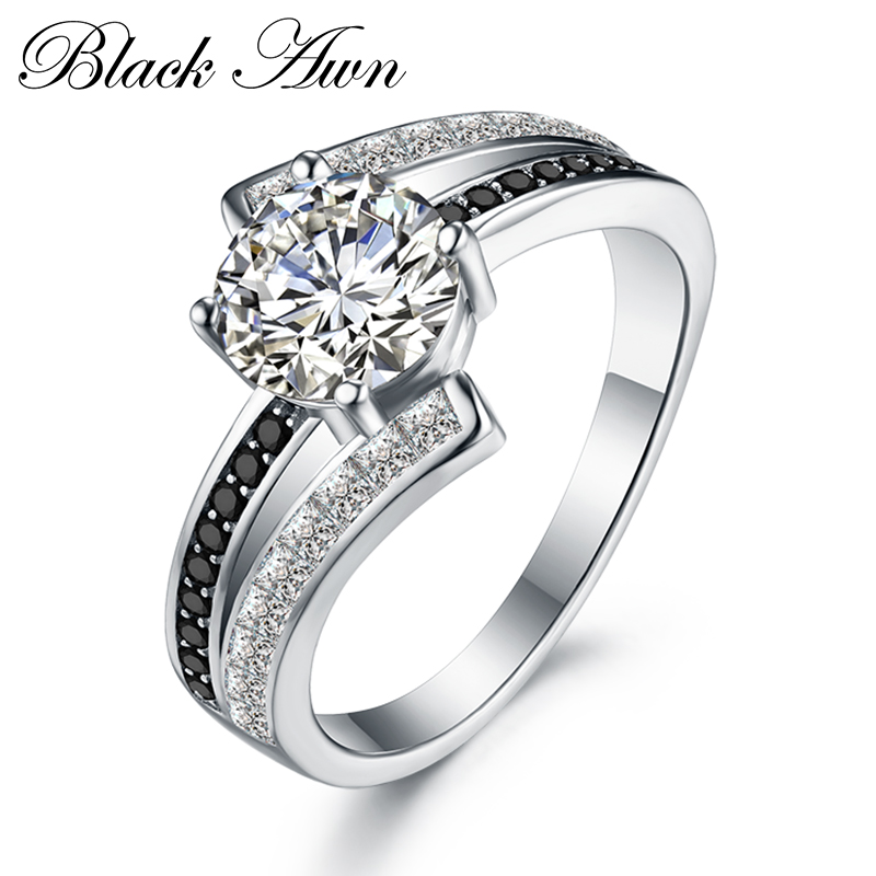 Carrera 3,9G clásico de la joyería de la plata esterlina 925 fila en blanco y negro de piedra anillos de boda para las mujeres Femme Bague C334