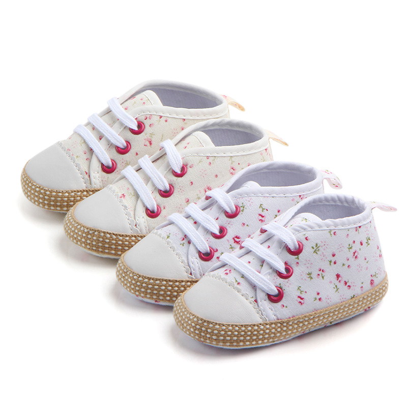 Baby Girls Shoes For Newborn Casual Canvas Floral Shoes Soft Sole Anti-Slip Shoes 2020 Spring Autumn First Walker For 0-18M