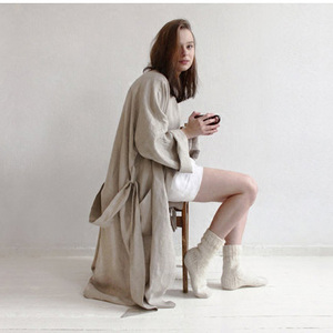 Image 3 - UNIKIWI.Women Sleepwear Robes Linen Pajamas.breathable Shower Spa Linen Robe Night Bathrobes Sleep Nightgown Robe Dressing Gown