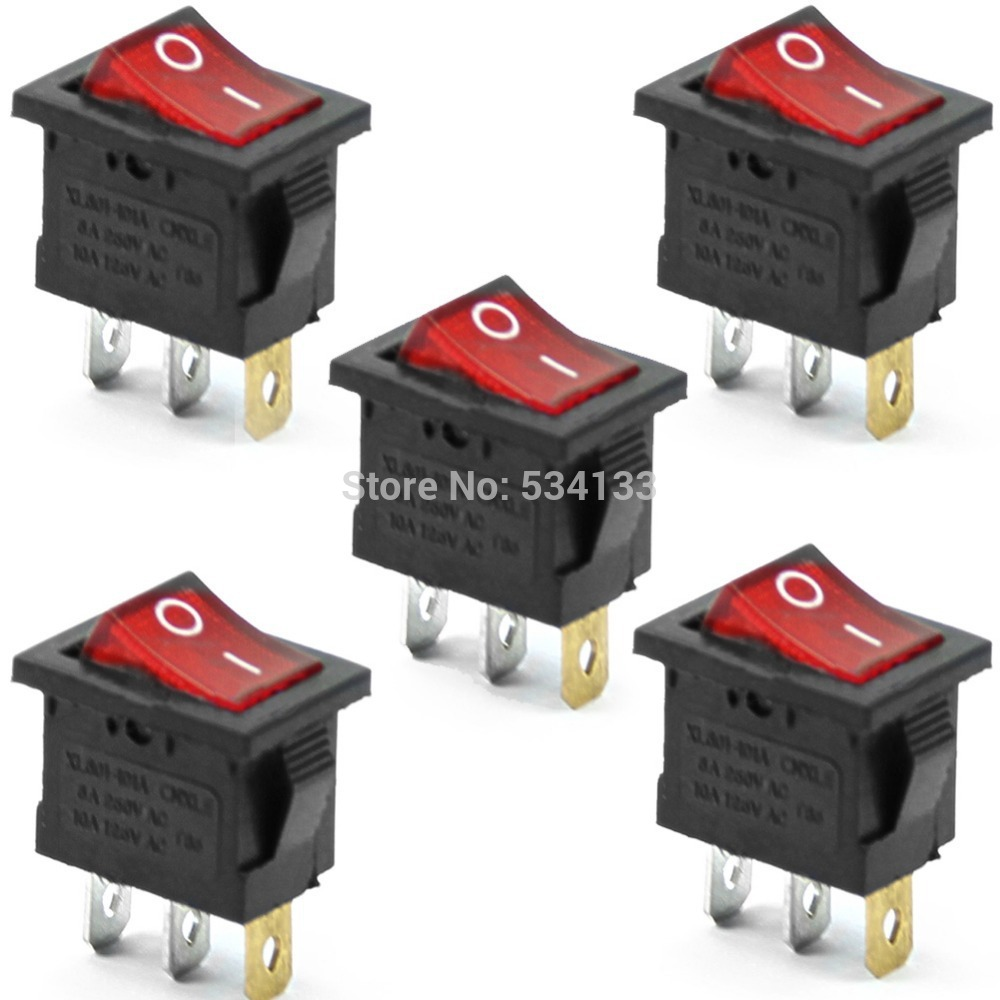 10PCS Free shipping Red Neon Light Lamp On Off DPST Rocker Switch 3 ...
