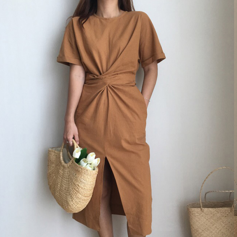 2018 Women's Summer Cotton Bodycon Vintage Long Dress Female Short Sleeve Bandage Vestidos Split Plus Size Dresses