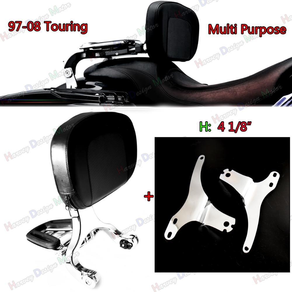 Fixation basse et dossier passager conducteur pour Harley Touring Street Glide Road King 97-08