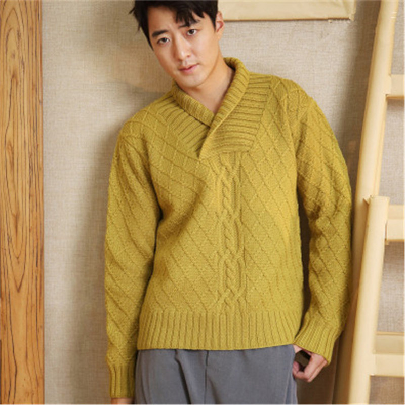 New Arrival 100%hand Made Pure Wool Knit Men Solid Turn-down Collar Thick H-straight Pullover Sweater One&over Size