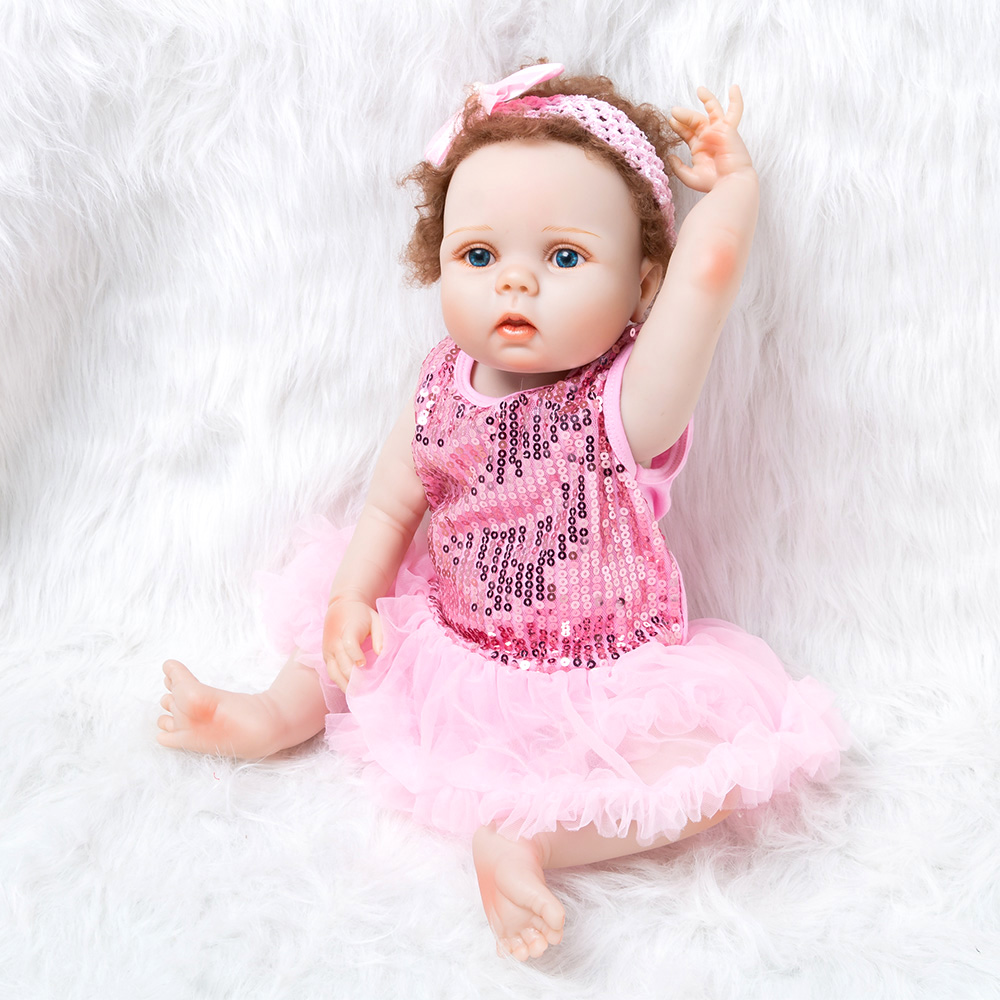 Vinyl Soft Silicone Rebirth Cute Doll 22 Inches Baby Toy Girl Dress Children's Clothing
