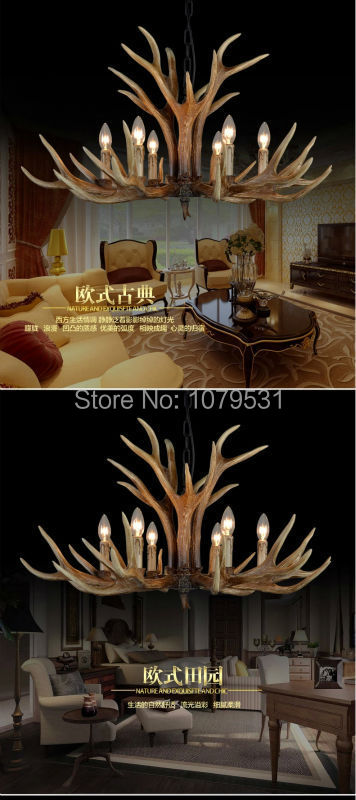 Europe Country American Retro Wall Lamps Fixture Resin Deer Horn Antler Glass Lampshade Decoration Wall Lamp, E27 110-220V -7