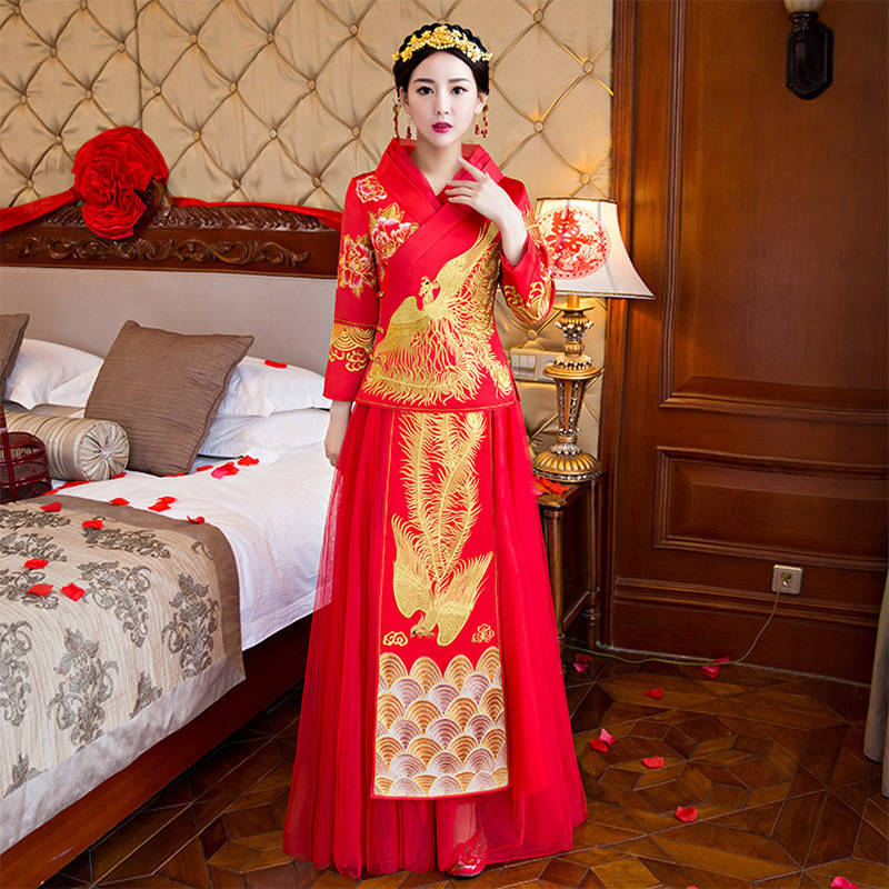 Buy modern chinese traditional dress red for Where to buy red wedding dress