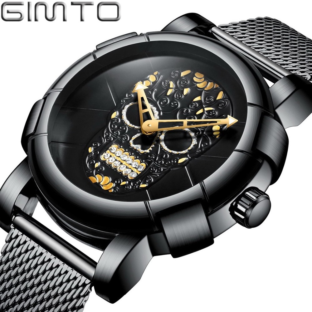 Stylish Men Skull Watch Punk 3D Pattern Gold Watch Men Rhinestone Stainless Steel Fashion Casual Male Clock Waterproof GM244 stylish plastic material back case cover with 3d vary picture design skull man pattern