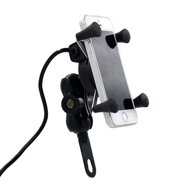Motocicleta stand x-grip titular 12 v tomada de corrente usb carregador para o iphone 6/6 plus gps samsung htc sony telefones inteligentes