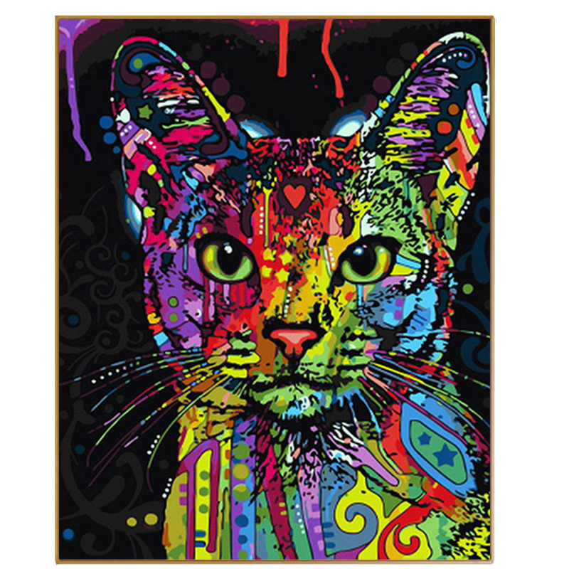PHKV Digital Coloring Picture Cat DIY Frame Painting By Numbers Acrylic Oil Paint Wall Art Pictures Decor For Home Decoration