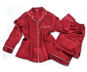 New silk pajamas, women's long sleeve trousers, 100% silk shirts, lapel red silk home clothes 2