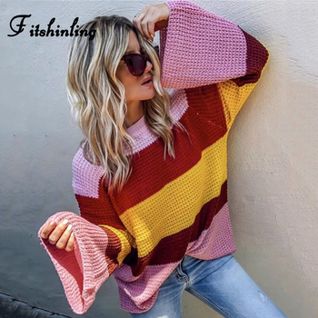 Fitshinling Rainbow Striped Sweaters