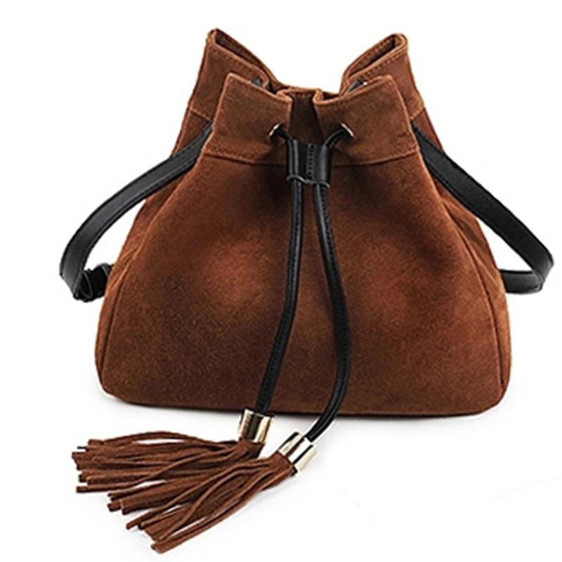 Szüreti stílusú velúr bőr marhabőr vödör táska nők bojtás - Kézitáskák