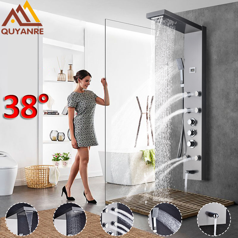 Quyanre Thermostatic Shower Panel Brushed Nickel Black Rainfall Waterfall Shower Faucet Massage SPA Jets Three Handles