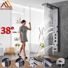 Quyanre Thermostat Dusche Panel Nickel Gebürstet Schwarz Niederschläge Wasserfall Brausebatterie Massage SPA Jets Drei Griffe Mischbatterie