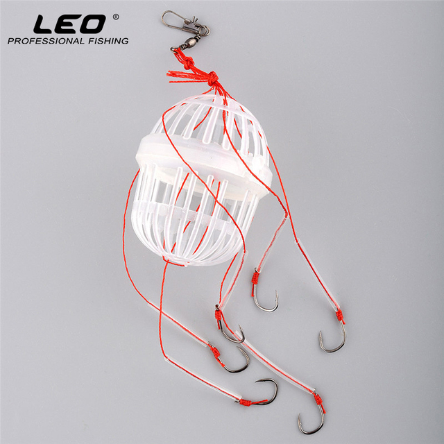 High Quality Plastic Spherical Cage Explosion Hook with Six Carbon Steel Fishhooks Carp Fishing Hooks