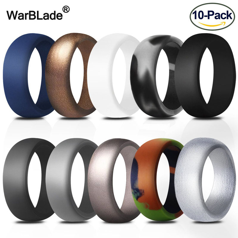10pcs Food Grade FDA Silicone Rings 8.7mm Hypoallergenic Flexible  Sports Antibacterial Finger Rings Rubber Wedding Ring For MenRings