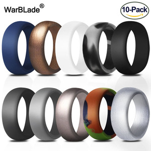 Image 1 - 10pcs Food Grade FDA Silicone Rings 8.7mm Hypoallergenic Flexible Sports Antibacterial Finger Rings Rubber Wedding Ring For Men
