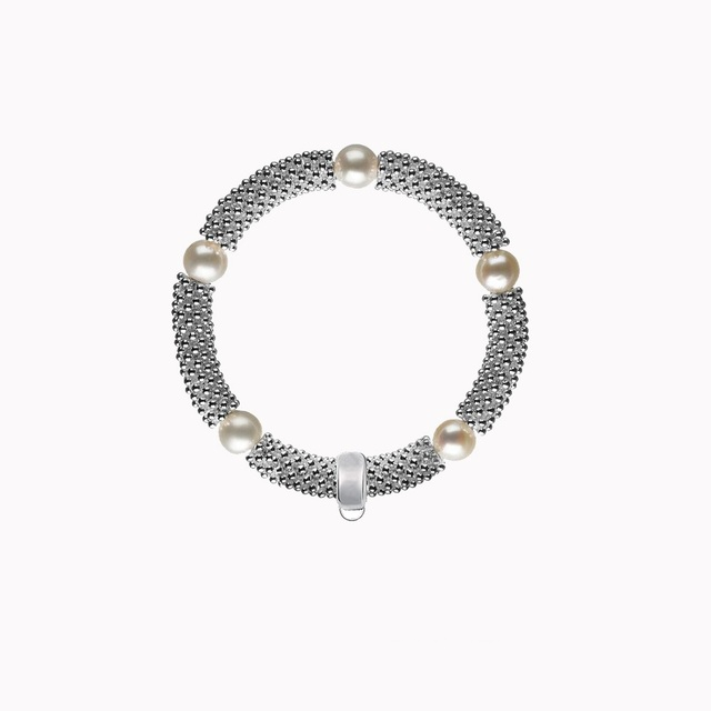Thomas Style 925 Silver Snowflakes Natural Freshwater Pearl Bracelet  with a Branded Charm Carrier, TS Glam Soul Gift For Women