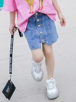 Girls denim skirt 2019 summer new children's clothing net red bag hip skirt big children's children's skirt super foreign