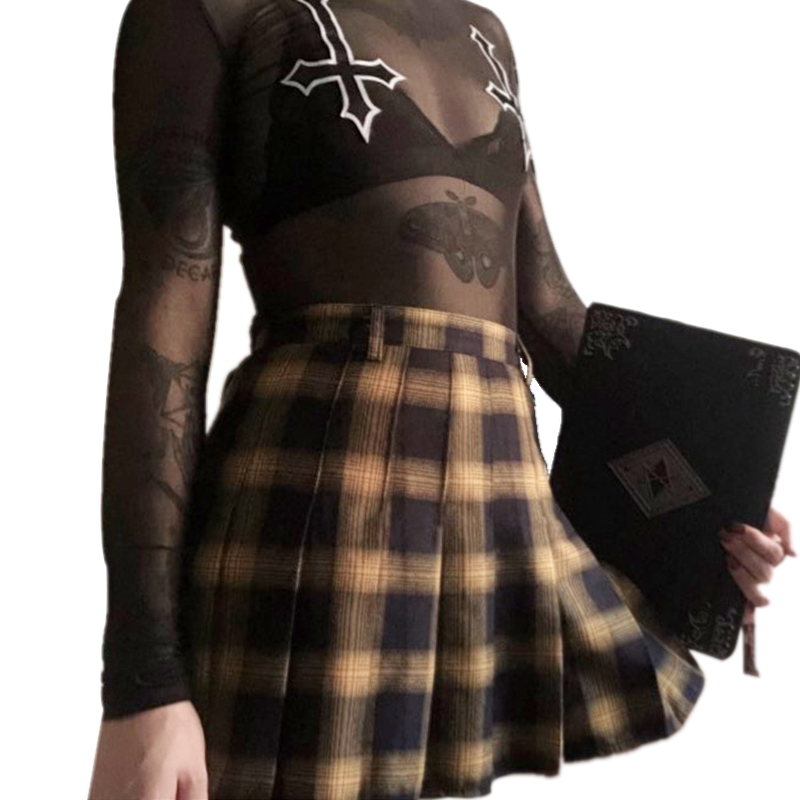 Harajuku Women Fashion Skirts Cute Gradient Yellow Black Lattice Pleated Skirt Punk Style High Waist Female Skirt for Lady