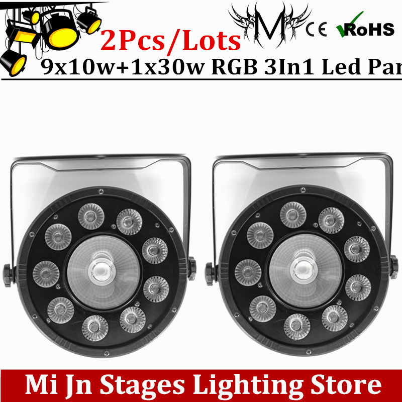 2pcs 9x10W +1x30w Flat LED Par Lights, 9*10w +1x30w  RGB 3IN1 PAR DMX512 control disco lights professional stage DJ equipment