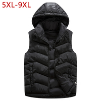 Plus Size Baggy Thick Cotton Sleeveless Jacket Outerwear Windbreaker 4 Colors Winter Autumn Male Vest Hooded Waistcoat For Men