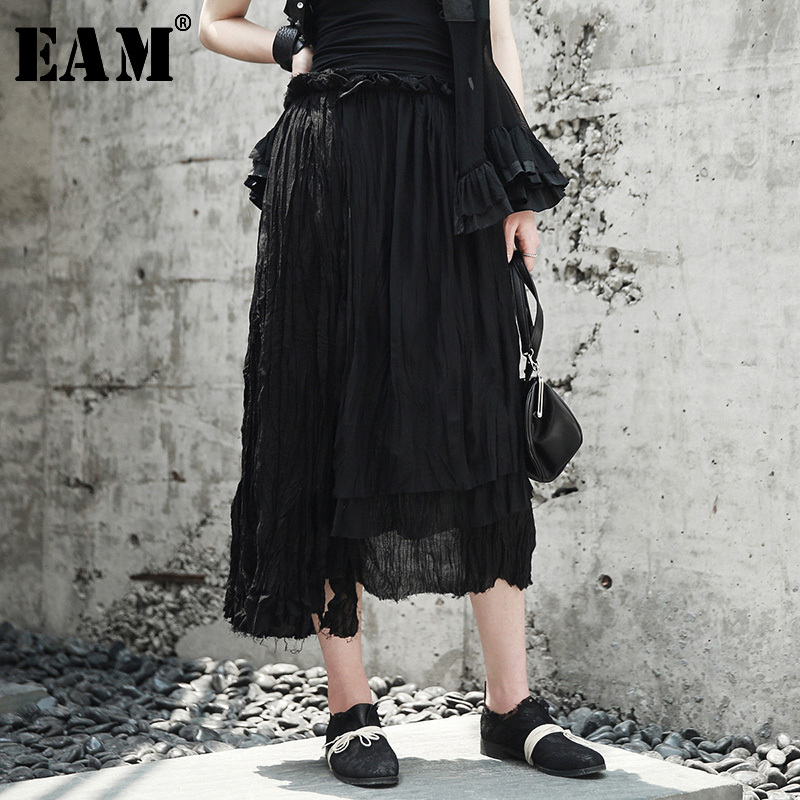 EAM 2019 New Spring Summer High Elastic Waist Black Irregular Mesh Split Joint Temperament Half-body Skirt Women Fashion JW795